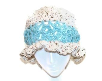 Womans Crochet Hat, Cotton Ladies Hat, Tan Beach Hat, Beige Floppy Hat, Summer Cloche Hat, Gardening Hat, Cotton Summer Hat