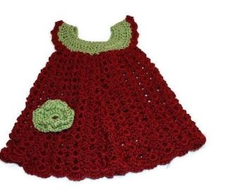 Crochet Baby Dress, Flower Pinafore, Baby Girl Dress, Christmas Baby dress, Red Baby Frock, girl clothing, Baby Dress, Baby Pinafore
