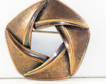 Vintage Copper Circle Brooch Pin (TP-B-1-1)