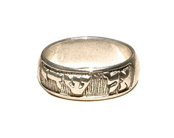 Rustic Sterling Silver Relief Engraved Scripture Band - El Shaddai