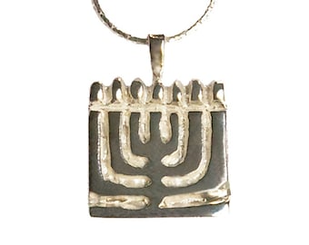Sterling Silver Heavyweight Contemporary Menorah pendant - pd012