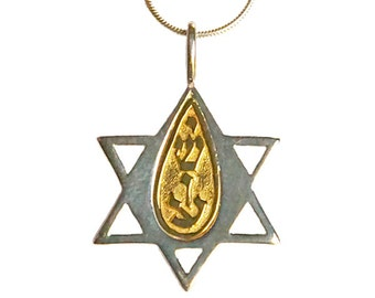 "Sterling silver & 14k gold ""Star of David"" pendant with ""Yeshua"" insert pendant- psg018"