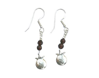 Sterling Silver Earrings with Sterling Silver pomegranate pendants and double garnets - er004