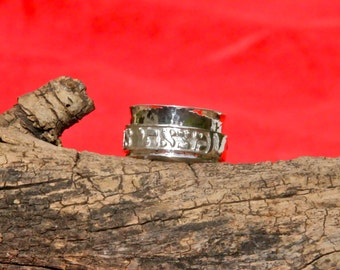 Sterling Silver Scripture Spinner Ring with relief engraving approx. 12mm
