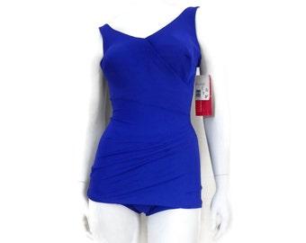 f87867dc2b9 Bombshell Skirted Swimsuit by Roxanne Purple Sheath Romper w.Sarong Style  Skirt Vintage Women Swimsuit Old Store Dead Stock sz 10 32DD #236
