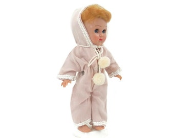 Pink Hooded Romper with Pom Poms for Ginny Vogue Doll Pajama Sleeper Outfit