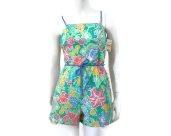 Blue Floral Pin Up Playsuit Romper Bathing Suit by Seawaves Vintage Swimwear New with Tags sz 8 #415