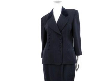 1980's Christian Dior Suit  Navy Blue Wool  Velvet Collar and Trim size 14 Vintage Designer Suit
