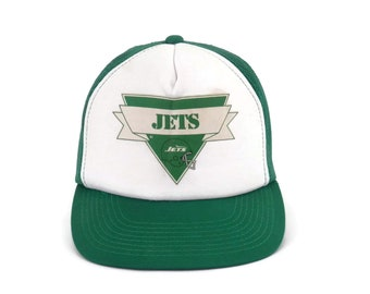 ae0d85e783b Vintage NFL Jets Trucker Hat Baseball Cap Snap Back with Mesh Sports  Memorabilia