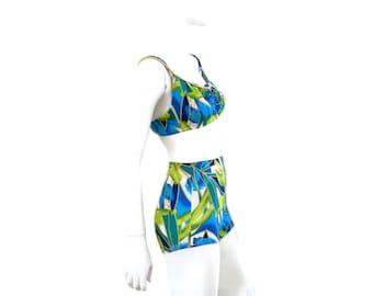 746b19ce9 DeWeese 2 pc Bathing Suit with Boy Shorts Hawaiian Print Leaf Lure Vintage  Swimsuit NOS Old Store Dead Stock New with Tags sz 12  464