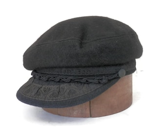 8b44f785f4303 Greek Fisherman s Cap Black Brocade and Wool Hat with Buttons and Braided  Belt Made in Greece