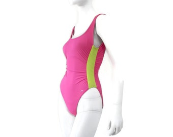 d42a449e6efad Jag One Piece Swimsuit Hot Neon Pink and Yellow High Cut Leg Vintage 80's  Bathing Suit Vintage Swimwear Old Store Dead Stock sz 10 #67