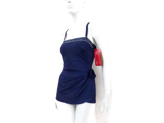 364 Stock Circle Vintage Swimsuit Roxanne Swimwear Navy w Bombshell White 34B Store Blue Skirted by Old Border Dead Romper NEW sz12 SwRzTB