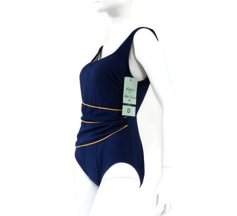 NWT Vintage Swimsuit by Cazimi 1 pc Navy Blue Bathing Suit Vintage Swimwear  Old Store Dead Stock sz 16D #27