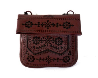 Moroccan Leather Purse Brown Leather with Black Embroidered Tribal Patterns