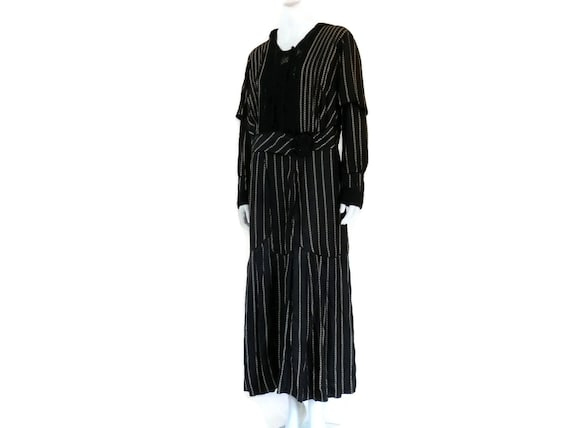 and Striped sz Lace Gown Silk Size Large Black Dress Large Edwardian Antique Era Steampunk xTqBxfr5