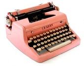1955 Pink Typewriter Royal Quiet De Luxe with Original Case