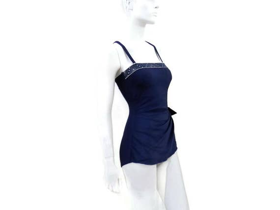 Vintage NEW Store 34B Dead Swimwear by Old Circle w Skirted Roxanne Blue 364 Romper Stock Border Swimsuit Bombshell sz12 White Navy pPZrwHpq