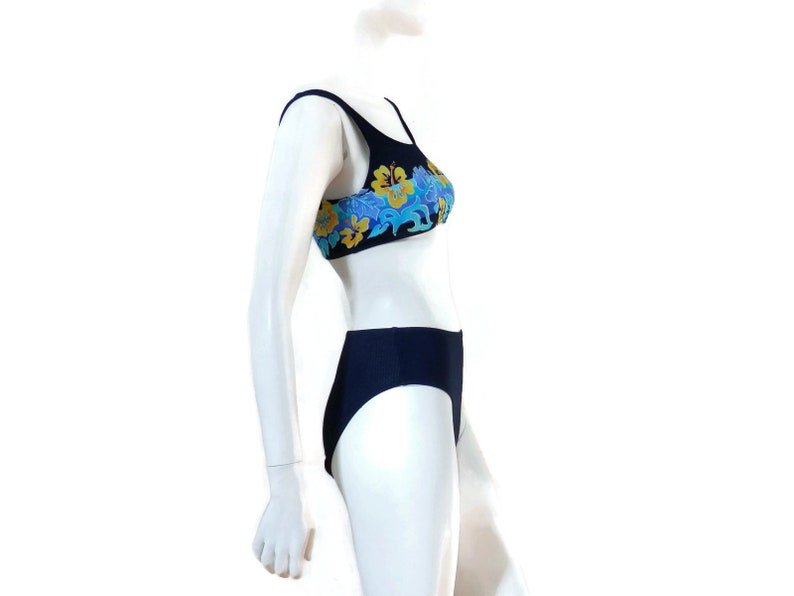9dadbc32bfe Jantzen High Waisted Bikini 2 pc Bathing Suit Vintage Swimwear Old Store  Dead Stock Navy Blue w/Tropical Flowers sz 6 #489