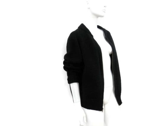 Sweater Collegiate Cardigan or Military Front w Black Knit Heavy Zipper WWII Wool Zip Talon Vintage daxOq6Xd