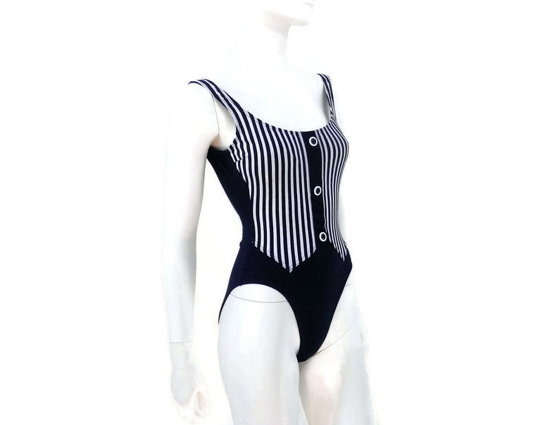 5c8fa8e8eee NEW Navy Blue Striped Swimsuit by Christine One Piece Bathing | Etsy