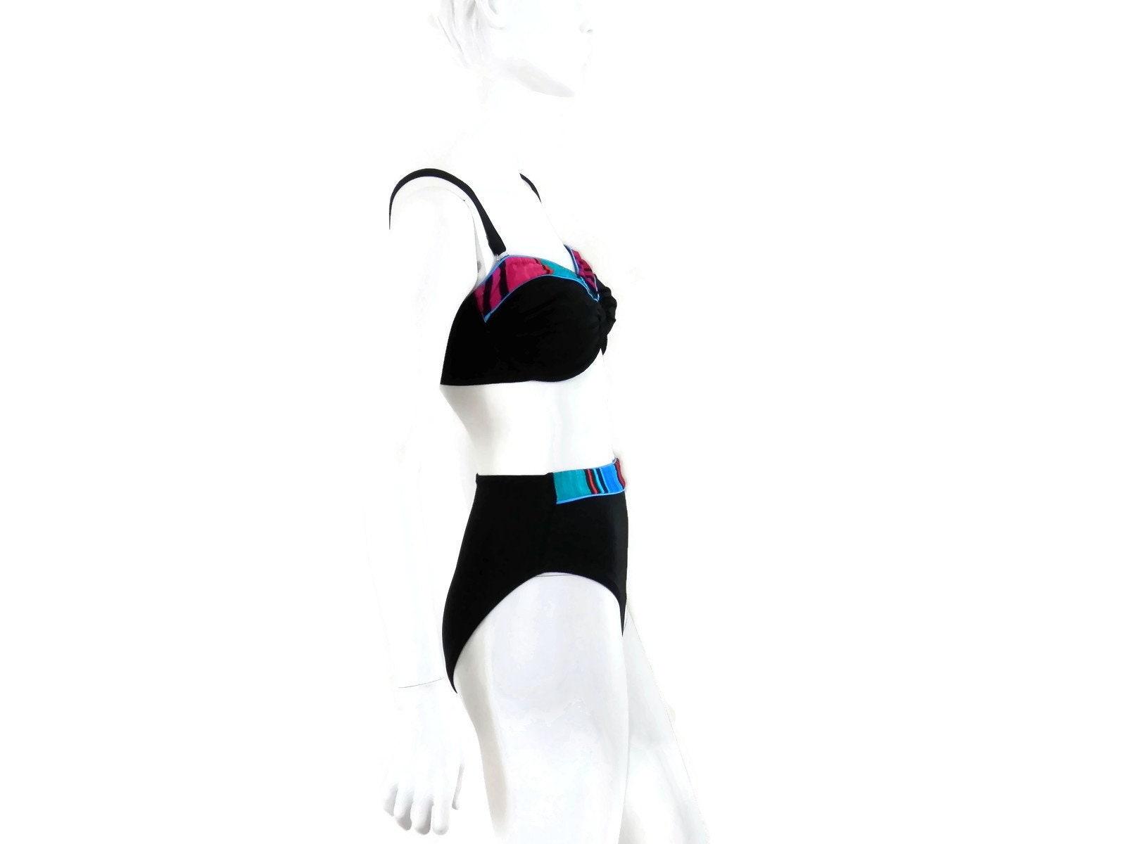 addf7c39f8c High Waist Black Bikini by Roxanne Black 2 pc Bathing Suit | Etsy