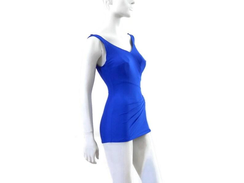 8f59945fd86 Bombshell Skirted Swimsuit by Roxanne Purple Sheath Romper   Etsy
