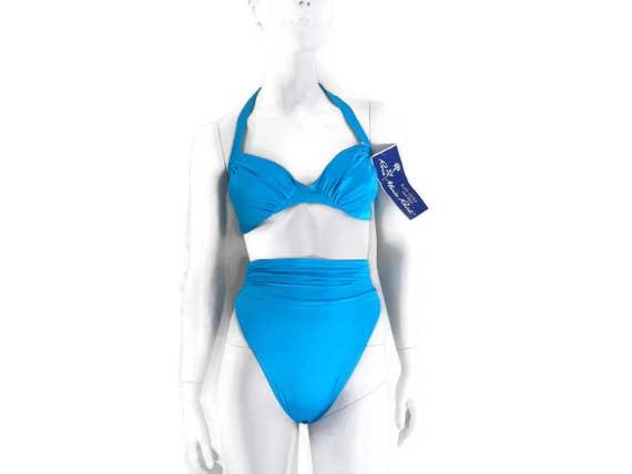 05b854050c37 High Waisted Bikini by Rose Marie Reid Turquoise Blue 2 pc