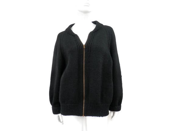 Vintage Sweater Heavy Black Wool Knit Cardigan w/ Zip Front Talon Zipper WWII Military or Collegiate