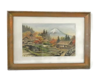 """Antique Japanese Silk Painting by """"Umpo"""" Mount Fuji"""
