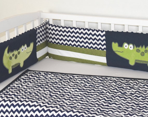 Crib Bumper, Alligator Baby Boy Bedding, Off White Navy Chevron,  Green