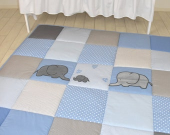 Elephant Playmat, Baby Blue Gray Play Mat, Baby Mat , Baby Activity Mat, Baby Playmat, Playroom Decor