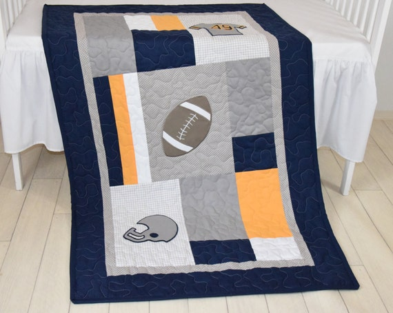 Football Blanket, Baby Boy Sports Crib Bedding, Gray Navy Yellow Football  Comforter, Football Nursery
