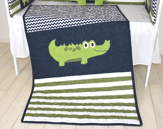 Alligator Quilt,  Crib Baby Blanket, Green Navy Off White Chevron
