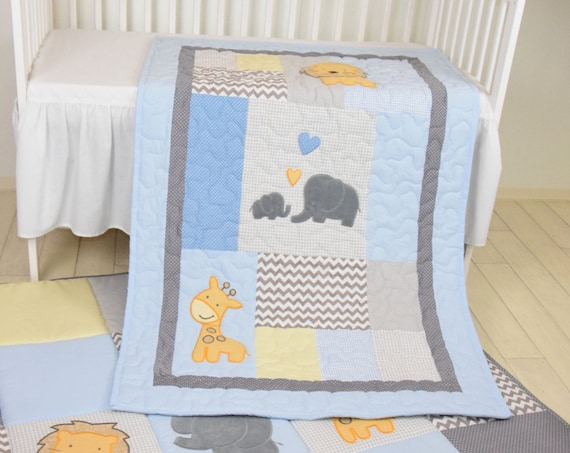 Baby Blue Blanket  Elephant Boy Quilt,   Crib  Safari Bedding, Yellow Giraffe, Lion Gray  Blue Baby Blanket,