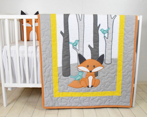 Fox Blanket, Yellow Gray Nursery, Baby Boy Quilt, Woodland Crib Bedding, Forest Blanket,  Custom Made