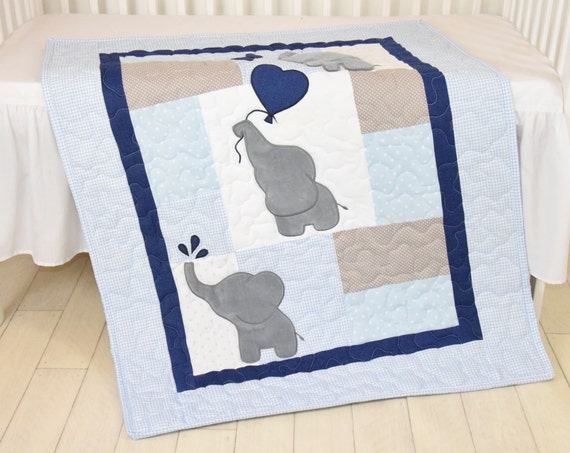 Baby  Boy Quilt,  Elephant Blanket, Blue Gray Navy  Crib Bedding, Safari Nursery