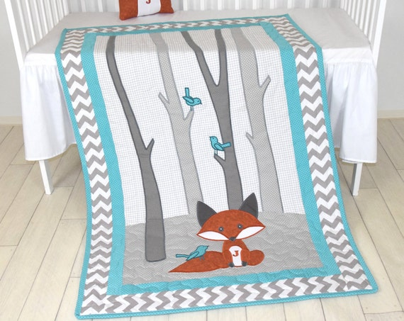 Fox Blanket, Teal Chevron Gray Nursery, Baby Boy Quilt, Woodland Crib Bedding, Forest Blanket,  Custom Made