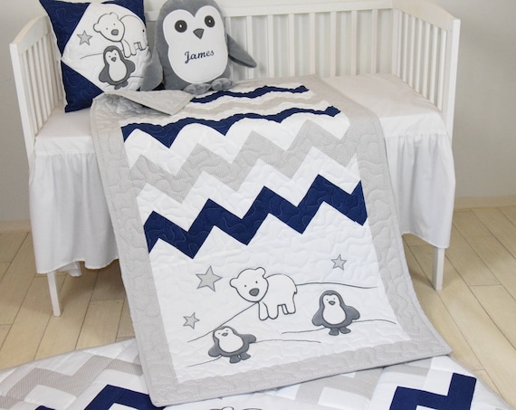Penguin Baby Quilt, Chevron Gray  Navy Toddler Blanket, Handmade Crib Bedding for Baby Boy or Baby Girl