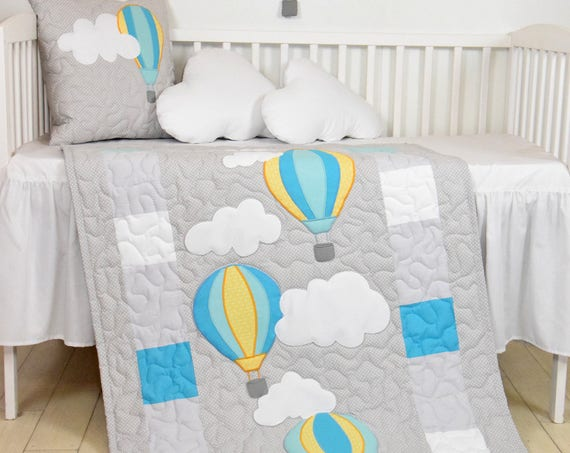 Baby quilt, unisex blanket, fly away, clouds hot air balloons, modern nursery  decor, shower gift idea