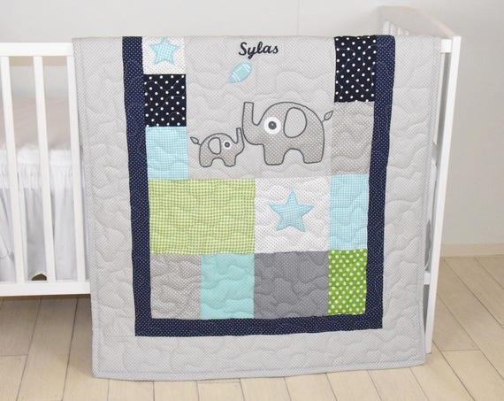 Elephant Quilt, Sports Baby Boy Blanket, Football Crib Bedding, Mint Navy Gray White