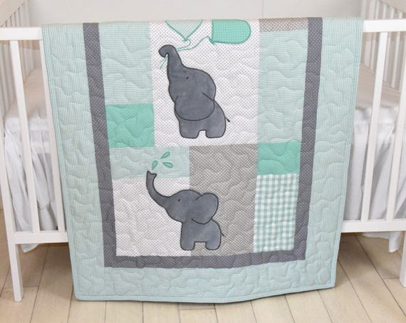 Baby Quilt,  Elephant Blanket, Mint Green, Gray Crib Bedding, Safari Nursery