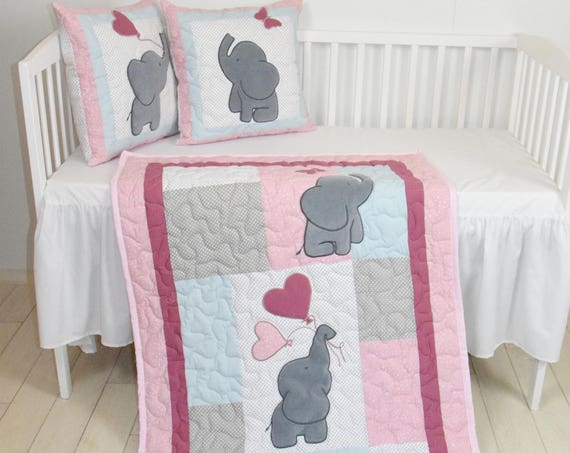 Pink Baby Quilt,  Elephant Blanket, Pink Gray Blue Crib Bedding, Safari Nursery