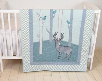 Woodland Blanket Birch Tree Crib Quilt Personalized Fox Crib