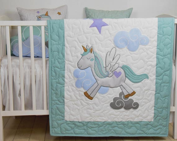 unicorn baby  blanket, fantasy quilt, clouds , magical nursery, horse bedding, shower gift idea