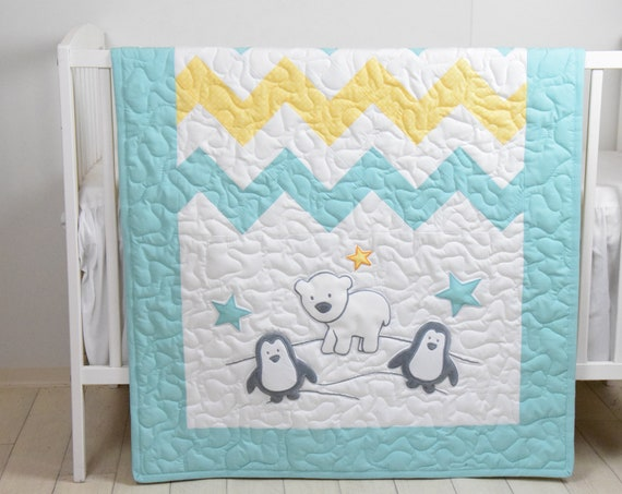 Penguin Baby Quilt, Chevron Gray Yellow Aqua Toddler Blanket, Handmade Crib Bedding for Baby Boy or Baby Girl