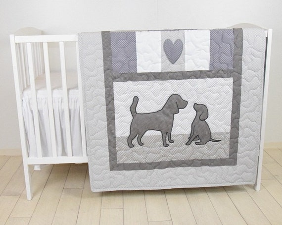Baby Boy Blanket, Labrador Quilt, Dog Nursery Blanket, Chevron Kids Quilt,  Gray  Bedding,  Chevron Blanket, Custom Made