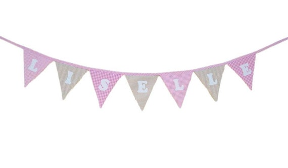 Personalized  Bunting Garland,  Fabric Bunting,  Shabby Chic Banner, Christening, Birthday Decor