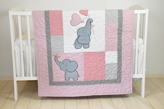 Baby  Quilt,  Elephant Blanket, Magenta Gray  Crib Bedding, Safari Nursery