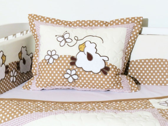 Sheep Quilted Baby Pillow - Handmade  Appliqued Pillow  Baby Shower Gift